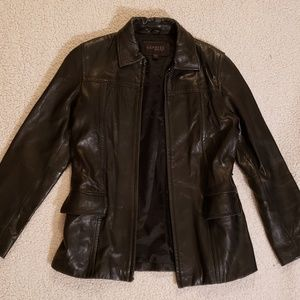 Express men's black leather jacket, size small